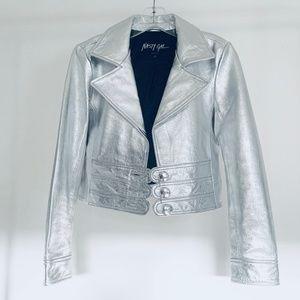 NASTY GAL - REAL Leather Silver Biker Moto Jacket